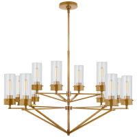 Marais Large Chandelier in Hand-Rubbed Antique Brass with Clear Glass