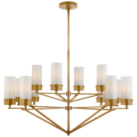 Marais Large Chandelier in Hand-Rubbed Antique Brass with White Glass