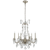 Yves Chandelier in Burnished Silver Leaf with Crystal