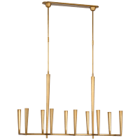 Galahad Large Linear Chandelier in Hand-Rubbed Antique Brass