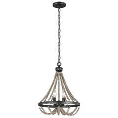 Oglesby Two Light Chandelier Washed Pine