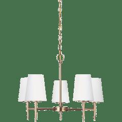 Driscoll Five Light Chandelier Satin Brass Bulbs Inc