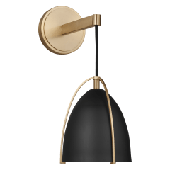 Norman One Light Wall / Bath Sconce Satin Brass Midnight Black