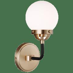 Cafe One Light Wall Sconce Satin Brass Bulbs Inc