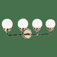 Cafe Four Light Wall / Bath Satin Brass Bulbs Inc