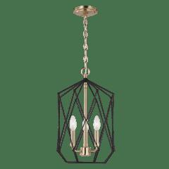Zarra Medium Three Light Lantern Satin Brass