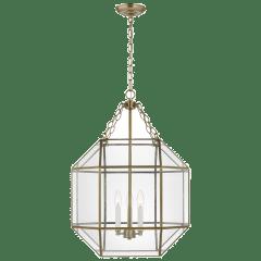 Morrison Medium Three Light Lantern Satin Brass Clear