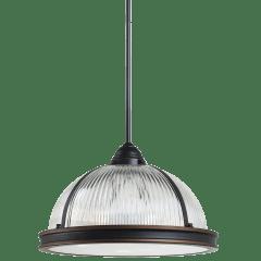 Pratt Street Prismatic Three Light Pendant Autumn Bronze Bulbs Inc