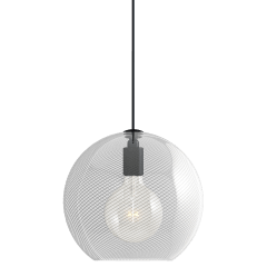 Palestra Medium Pendant Medium Opal/Clear nightshade black no lamp