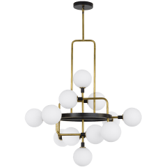 Viaggio Chandelier Opal/Brass no lamp