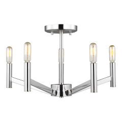 Vector Five Light Semi-Flush Mount Chrome