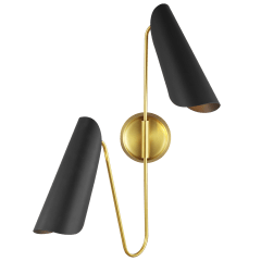 Tresa Two Light Sconce Burnished Brass and Midnight Black