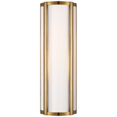 Basil Small Linear Sconce in Natural Brass with White Glass
