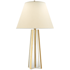 Lila Table Lamp in Crystal and Gild with Natural Percale Shade