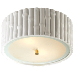 Frank Small Flush Mount in White with Frosted Glass