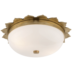 Rachel Small Flush Mount in Natural Brass with White Glass