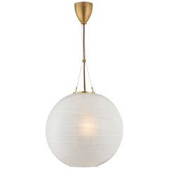Hailey Medium Round Pendant in Natural Brass with Frosted Glass