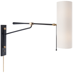 Frankfort Articulating Wall Light in Black and Hand-Rubbed Antique Brass Accents with Linen Shade