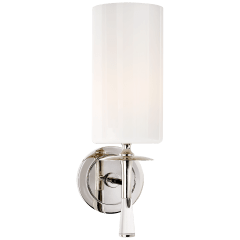Drunmore Single Sconce in Polished Nickel and Crystal with White Glass Shade