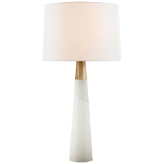Olsen Table Lamp in Alabaster and Hand-Rubbed Antique Brass with Linen Shade
