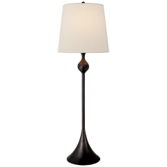 Dover Buffet Lamp in Aged Iron with Linen Shade