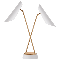 Franca Double Pivoting Task Lamp in Hand-Rubbed Antique Brass with White Shades