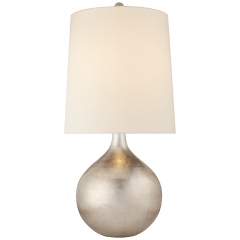 Warren Table Lamp in Burnished Silver Leaf with Linen Shade