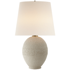 Toulon Table Lamp in Volcanic Ivory with Linen Shade