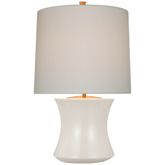 Marella Accent Lamp in Ivory with Linen Shade