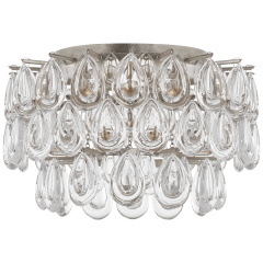 Liscia Small Flush Mount in Burnished Silver Leaf with Crystal