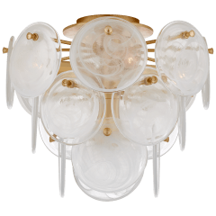 Loire Medium Tiered Flush Mount in Gild with White Strie Glass