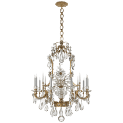 Vestry Chandelier in Hand-Rubbed Antique Brass with Crystal