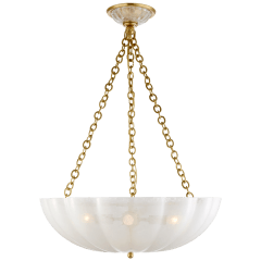 Rosehill Large Chandelier in Hand-Rubbed Antique Brass with Strie Glass