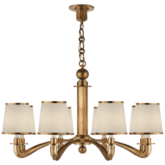 Tuileries Chandelier in Hand-Rubbed Antique Brass with Linen Shades