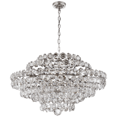 Sanger Large Chandelier in Polished Nickel with Crystal