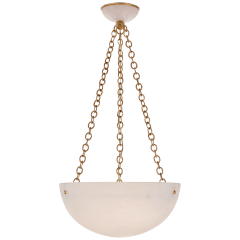 O'Connor Chandelier in Hand-Rubbed Antique Brass and Alabaster