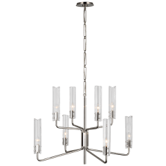 Casoria Medium Two-Tier Chandelier in Polished Nickel with Clear Glass