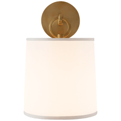 French Cuff Sconce in Soft Brass with Silk Shade