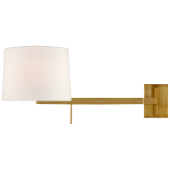 Sweep Medium Right Articulating Sconce in Soft Brass with Linen Shade