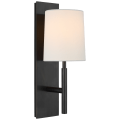 Clarion Medium Sconce in Bronze with Linen Shade
