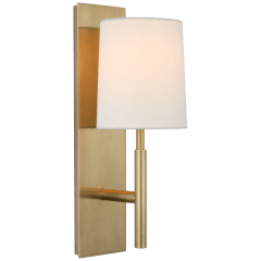 Clarion Medium Sconce in Soft Brass with Linen Shade