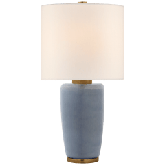 Chado Large Table Lamp in Polar Blue Crackle with Linen Shade