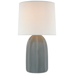 Melanie Large Table Lamp in Sky Gray with Linen Shade