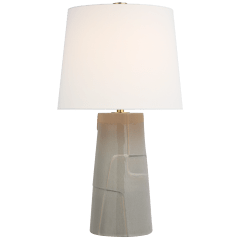 Braque Medium Debossed Table Lamp in Shellish Gray with Linen Shade