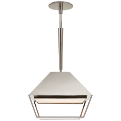 Odeum Small Lantern in Polished Nickel with Frosted Acrylic Diffuser
