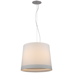 Sash Medium Hanging Shade in Polished Nickel with Linen Shade Banded