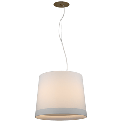 Sash Medium Hanging Shade in Soft Brass with Linen Shade Banded