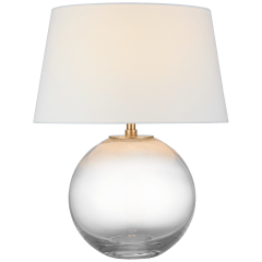 Masie Medium Table Lamp in Clear Glass with Linen Shade