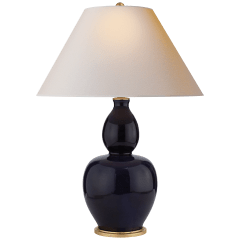 Yue Double Gourd Table Lamp in Denim with Natural Paper Shade
