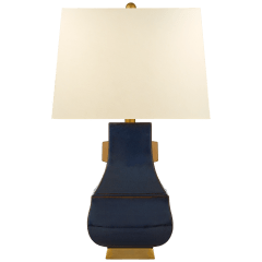Kang Jug Large Table Lamp in Mixed Blue Brown and Burnt Gold Accent with Natural Percale Shade
